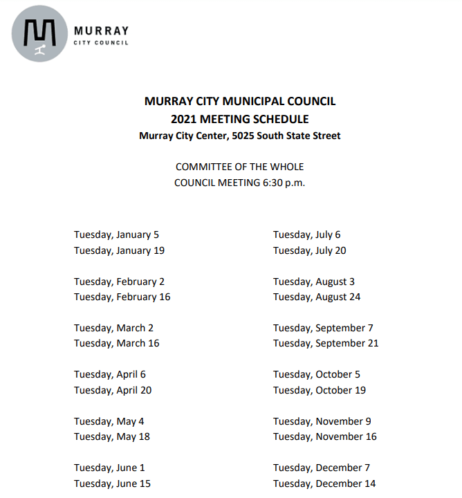 City Council 2021 Schedule