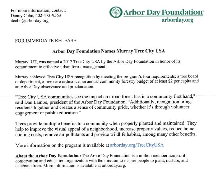 Arbor Day Foundation Information